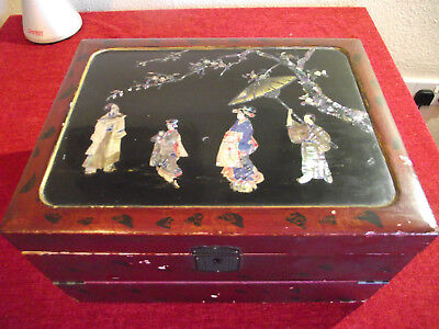 antique lacquered inlade oriental writing slope