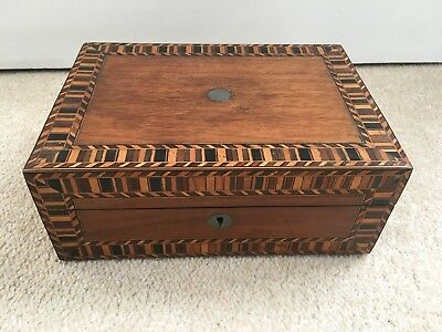Antique Box With Marquetry Inlay /sewing box / trinket box