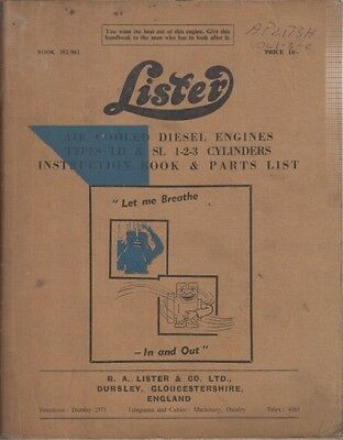 Lister Ld & Sl Industrial Diesel Engine Factory Instruction Manual & Parts List