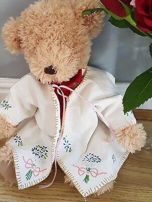 Vintage baby jacket handmade embroidered cream flowers 0-3m