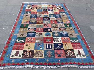 Old Traditional Hand Made Persian Oriental Gabbeh Wool Blue Red Rug 246x176cm