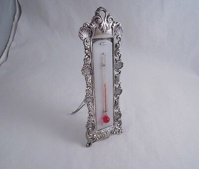 Fuchs Sterling Silver Rococo Shell Thermometer Antique Desk Easel