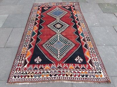 Old Hand Made Traditional Persian Rugs Oriental Wool Red Rug 244x148cm