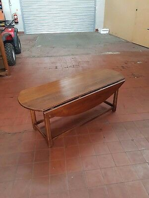 Antique/reproduction Large Solid Oak Farmhouse Country Drop Leaf Coffee Table