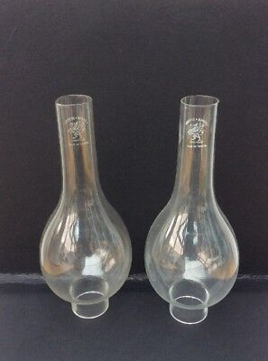 """2 x GLASS OIL LAMP CHIMNEY - GRIFFIN BRAND - 1 3/4"""" Dia  x 10"""" High"""