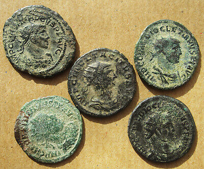 Five late Roman radiate coins.  Various emperors.  (09)