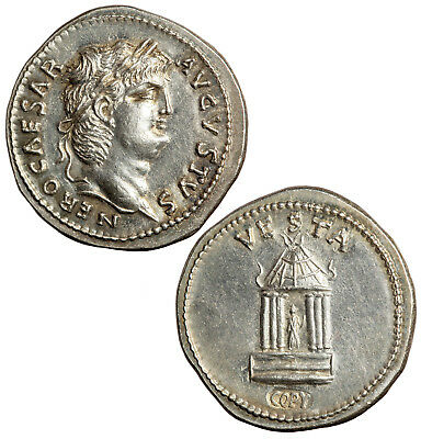 Modern strike of a Roman imperial denarius of Nero.