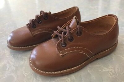 Genuine Vintage Antique Handmade Leather Tan Brown Laceup Children Child Shoes 4