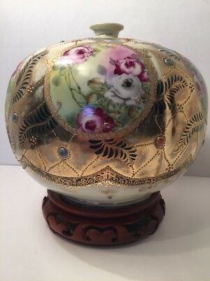 Antique Nippon Raised  Beaded Hand Painted Jewels On Wood Stand Round Vase