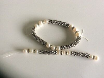jewellery craft - strands of freshwater pearls /metal insert -- silver white