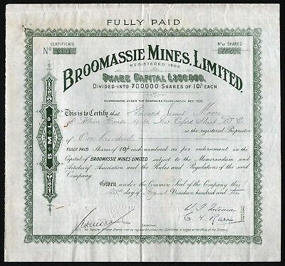 1910 Gold Coast, Africa: Broomassie Mines, Limited