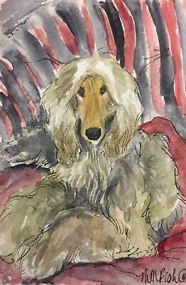 Afghan Hound domino color on bed .A Watercolor Original Art By NFISH