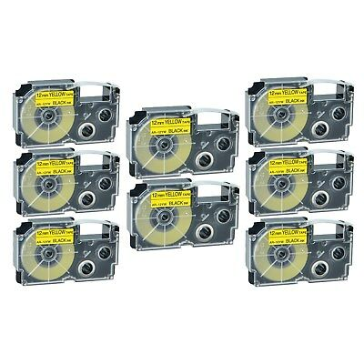 """8PK XR-12YW Black on Yellow Label Tape for Casio KL-60 100 7000 8200 8800 1/2"""""""