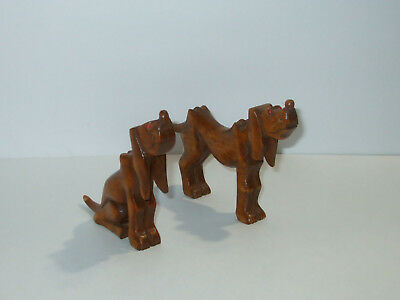 Pair of vintage Hand Carved Solid Wood Hound Dogs Figurine, folk art