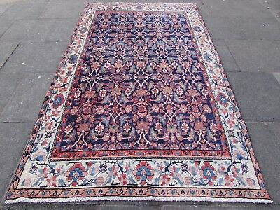 Old Hand Made Traditional Persian Rug Oriental Rug Wool Blue Long Rug 276x162cm
