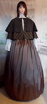 Ladies Victorian Dickensian Gentry 2pc Fair Costume Gothic Steampunk Fancy Dress