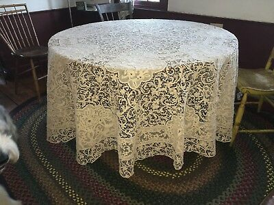 "Antique Handmade Zele Needle Lace Round Tablecloth 96"" Figural Naked Women Urns"