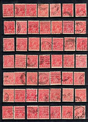 KGV 1d Red x 49 Fine Used