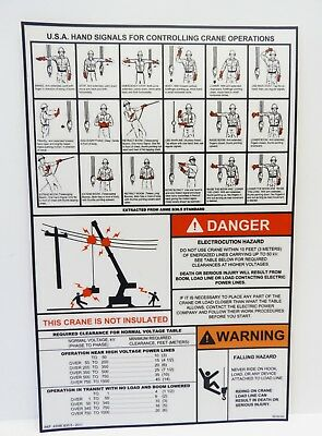 Crane Danger Warning Label Decal Sticker Electrocution Falling Hazard Hand Signa