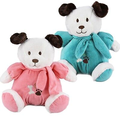 "10"" Baby 1st Soft Toy Plush Puppy Dog Teddy With Rattle Bell Baby Boy Girl Gift"