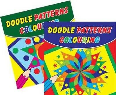 2 x Childrens Doodle Colouring Books 60 Designs Party Favours White Paper