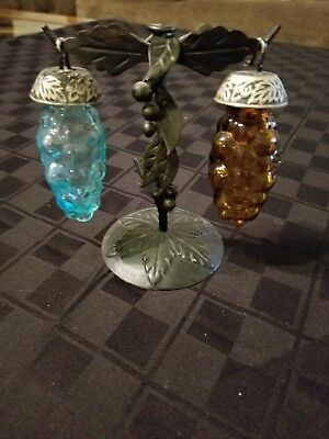 Glass Grapes Salt and Pepper Shakers with Metal Stand