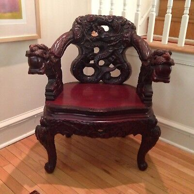 Antique carved Chinese chair, made circa 1910 for export. Very good condition.