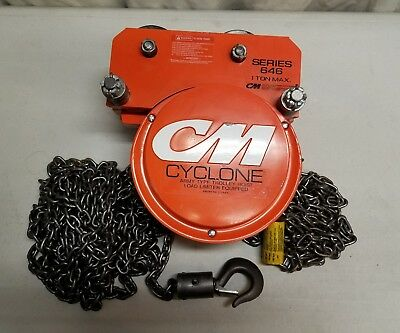 Cm Cyclone 1/2 Ton Chain Hoist With Trolley 30 Foot Lift Load Limiter Army Type