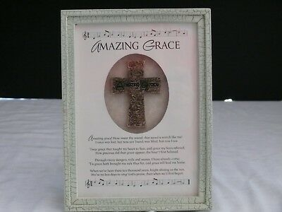 """Amazing Grace Photo Frame with Song and Cross--Life Echoes--Approx. 8"""" x 6"""""""