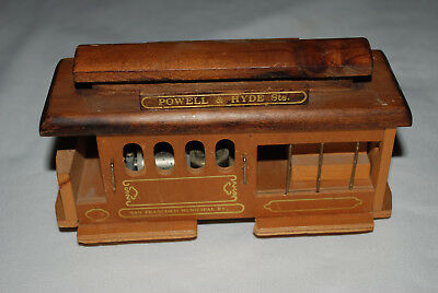 VINTAGE WOODEN SAN FRANCISCO TROLLEY CAR MUSIC BOX POWELL & HYDE STS Video Works