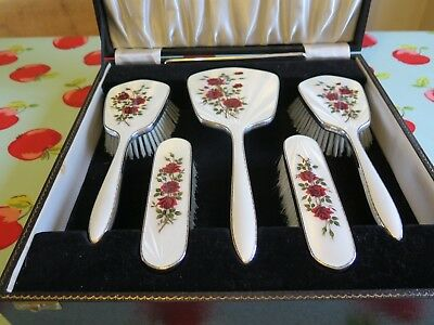 Stirling Silver dressing table hairbrush set, hallmarked Birmingham