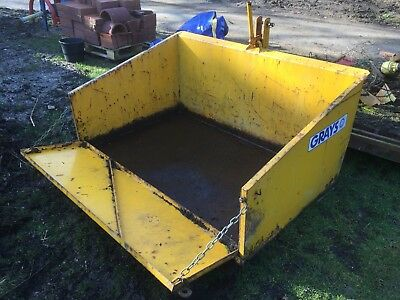Tractor 3 point linkage tipping transport box / carrier for logs / manure/ stone