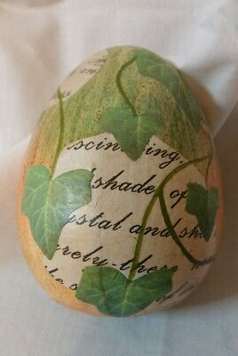Pier 1 Imports Easter Spring Egg  Ivy Leaves Decorative Decoupage  Free Shipping