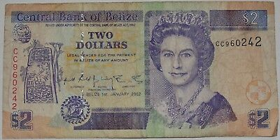 2002 Two Dollars Central Bank Of Belize