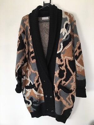Women's Vintage Jaeger Abstract Knitted Long Cardigan Size M/L