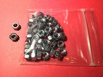 """1/4""""-20 KEPS Nut / Star Nut with Ext Tooth Washer, Zinc Plated, 50 pack"""