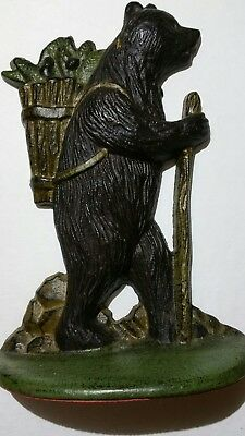 Vintage Cast Iron Hiking Black Bear with Walking Stick, Door Stop/Book End