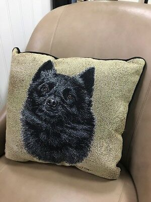 "Schipperke Dog head Jacquard Woven Cotton Tapestry Accent 17"" Throw Pillow NEW"