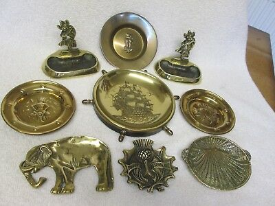 Lovely Job Lot/ Collection Of Vintage/ Antique Brass Pin Tray/ Dishes/ Ornaments