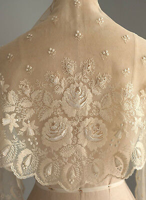 Antique embroidered net  lace shawl with raised applique roses and fuschias