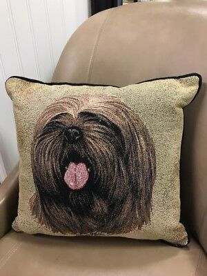 brown Lhasa Apso dog Jacquard Woven Cotton Tapestry Accent Throw Pillow NEW