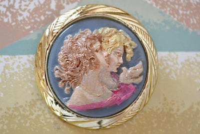 Hand Painted Cameo Brooch With Two Lovely Ladies - Vintage Style