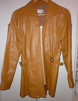 VINTAGE 70s  TAN LEATHER  TRENCH COAT SIZE 10 EXCELLENT CONDITION