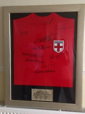 Framed England 1966 World Cup Winners Team Signed Shirt 9 Signatures
