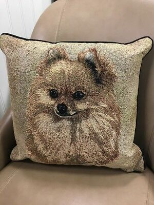 Pomeranian dog head tan Jacquard Woven Cotton Tapestry Accent Throw Pillow NEW