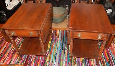 Pair Of Styled By Park Solid Cherry Wood Drop Leaf End Tables