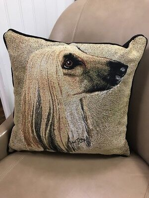 Afghan Hound dog head Jacquard Woven Cotton Tapestry Accent Throw Pillow NEW