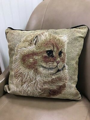 """Cameo Persian Cat 17"""" throw accent Jacquard Woven Tapestry Pillow USA MADE NEW"""