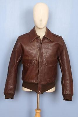 Superb Vtg 1940s Paragon A-2 AVIATOR Flight Steerhide Leather Jacket Small