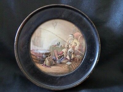 "Rare Victorian Prattware Pot Lid ""the Enthusiast"" In A Delightful Frame C1880"